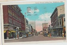 Ohio Postcard 1940 MIDDLETOWN Central Avenue Castell Drug Store Cars Butler