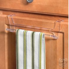 Clear Hook Over Cabinet/Drawer Towel Rack, only 3.99! perfect if you don't want to drill holes into your vintage cabinets :)