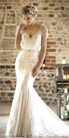 lace vintage mermaid wedding dresses with cap sleeves