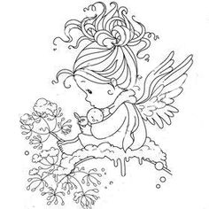 Fairy Coloring Pages, Printable Adult Coloring Pages, Colouring Pics, Coloring Books, Whimsy Stamps, Christmas Embroidery, Digital Stamps, Cute Art, Graphic Illustration