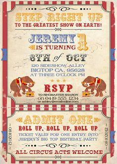 Vintage Circus Invitation INSTANT DOWNLOAD Editable & by Sassaby
