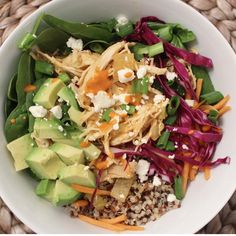 Buffalo Chicken Quinoa Bowl- I love this bowl because it is layered with grains, greens, and vegetables. Make in the Instant Pot or Slow Cooker.