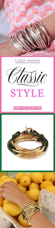 With FREE Shipping on USPS orders plus 15% OFF for all 1st time buyers, let Lizzy James Jewelry heat up your Summer style! Featuring leather & cotton cord wrap bracelets that can also be worn as necklaces, our designs fit all wrist sizes from petite to plus size. Proud to be made in the USA! #lizzyjames