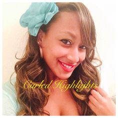 Mary Joyner in Curled Highlights & Turquoise Flower side part