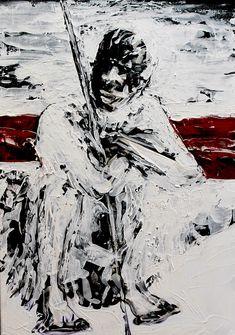 Title : Umkhwetha (Tribal series) Year : 2018 Medium : Oil/Craft paint on canvas Size : 60X83cm