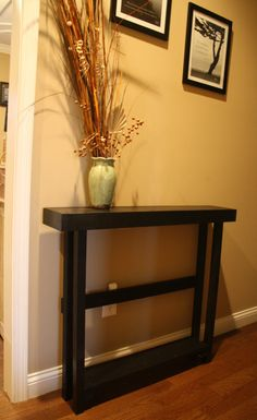 for sale primitive look tall sleek black sofa table size