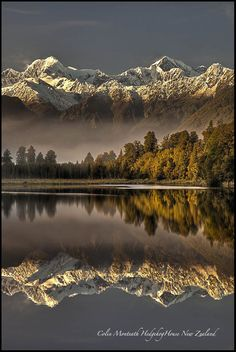 Highest peaks in the land...Lake Matheson, New Zealand