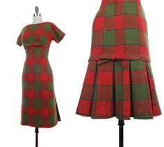 Vintage 1950s Wool PLAID Bombshell Holiday Wiggle by NovaVintage, $278.00