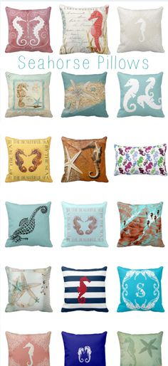 Seahorse Pillows Here are some cute seahorse throw pillows with beach themes, marine life, and seahorses. These are great as beach house decor and for summer pillows. Seahorse Love Beach Lovers Pil…