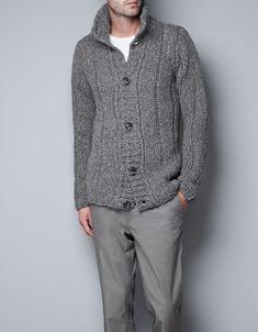 THICK RIBBED KNIT CARDIGAN - Knitwear - Man - ZARA United States