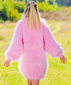 Pink-hand-knit-mohair-sweater-fuzzy-thick-turtleneck-long-dress-SUPERTANYA-SALE