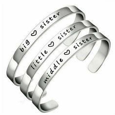 3pcs Stainless Steel Bracelet Cuff Set Big Middle Little Sisters Best Friends #Unbranded #BangleCuffFriendshipPlainStatement Stackable Bracelets, Bangle Bracelets, Bangles, Anklet Bracelet, Bracelet Set, Gifts For Your Sister, Best Friend Love, Sister Bracelet, Birthday Gifts For Girls