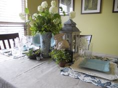Spring is in the AIr! Bunnies, lanterns, crystal wine glass, Southern Living Plates, Mary Carol Plates, Blue Birds Salt and Pepper shakers