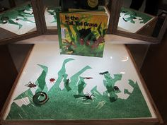"""Extend """"In the Tall Tall Grass"""" at the light table with laminated tissue paper grass & story props. The play and story retelling will go on and on! Bug Activities, Spring Activities, Licht Box, Sensory Table, Sensory Play, Pond Life, Light Spring, Kindergarten Literacy, Light And Shadow"""