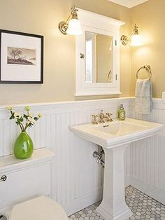Half bathroom ideas and they're perfect for guests. They don't have to be as functional as the family bathrooms, so hope you enjoy these ideas. Update your bathroom decor quickly with these budget-friendly, charming half bathroom ideas Upstairs Bathrooms, Downstairs Bathroom, Laundry In Bathroom, Bathroom Beadboard, White Beadboard, Beadboard Wainscoting, Bathroom Paneling, Wainscoting Panels, Wainscoting Ideas