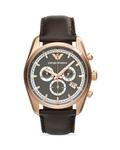 Emporio Armani Rose Gold–Tone & Gunmetal-Tone Chronograph Watch, 42.5mm