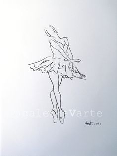 Original charcoal drawing Swan Lake ballet by galeriaVarte