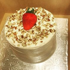 """5"""" 2-Layer Vanilla Cake w/Cream Cheese Frosting, Topped w/Chopped Pecans & a Fresh Strawberry by Twist of Sunshine Designs"""