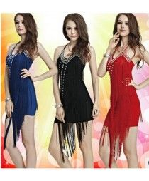 9d0fc31bddbd Women's girls ladies female fringe tassel turquoise fuchsia violet royal  blue black sequined paillette strap backless sexy latin dance dresses samba  salsa ...