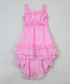 Another great find on #zulily! Blossom Couture Pink Ruffle Hi-Low Dress - Infant, Toddler & Girls by Blossom Couture #zulilyfinds
