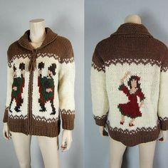 Vintage Chunky Crochet Wool Ethnic Dancers Cardigan Sweater Zip Front Cowichan Novelty Knit Jacket Lebowski from CkshopperVintage on Etsy. Crochet Wool, Chunky Crochet, Cowichan Sweater, Sweater Cardigan, Knit Jacket, Christmas Sweaters, Ethnic, Knitting, Dancers