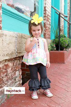 Girls Triple Ruffle Knit Faux Denim Capris