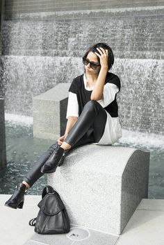 Faux leather leggings.  Fabric available at: http://www.mjtrends.com/products.Stretch-Black,Faux-Leather,Fabric