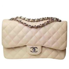 Pre-owned Chanel Timeless Leather Handbag ($4,295) ❤ liked on Polyvore featuring bags, handbags, beige, women bags handbags, handbag purse, leather purse, leather man bags, leather handbags and man bag