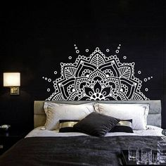 Half Mandala Wall Decal Headboard Master Bedroom Boho Bohemian Decor Vinyl Sticker Yoga Studio Namaste Ornament Mandala Decals Decor #mandala #bedroom #bedroomideas #masterbedroom #walldecor #pillows #affiliate