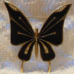 Vintage Black Butterfly with Rhinestones by ViksVintageJewelry, $24.99