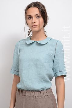 A special thing of this linen blouse is decoration, made of edging. The blouse was dyed after it has been ready. Linen Blouse, Tees, Shirts, Elegant, Luxury, Fabric, Cotton, Clothes, Mid Century