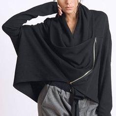 OFF Black Loose Cardigan/Asymmetric Maxi Top/Plus Size Coat/Extravagant Short Jacket/Long Sleeve Tunic/Loose Black Top/Casual Jacket MET Black Kaftan, Black Maxi, Loose Shirts, Loose Tops, Loose Pants, Long Tunic Tops, Long Sleeve Tunic, Black Linen Pants, Black Pants