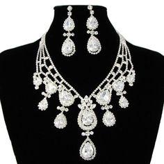 White Zircon Victorian Bridal Wedding Jewelry Jewellery Sets Online SKU-10801336