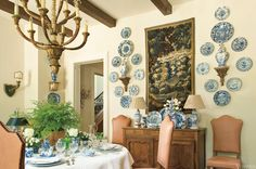 Blue and White porcelain in VERANDA. Interior Design by Peggy Stone.
