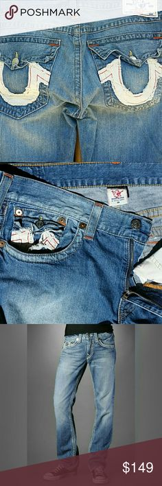 True Religion White Patch Pocket Jeans True Religion Unique White Patch Pocket Jeans. Label size 38. True Religion Jeans Straight