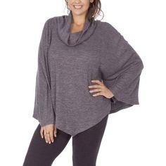 Plus Size Plus Moda Women's Plus Cowl Knit Poncho, Size: 1XL, Black