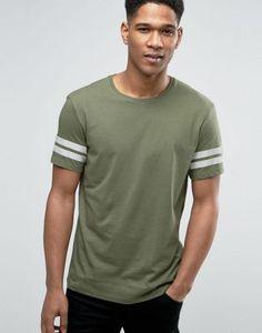 Camiseta con cuello redondo y detalle de rayas en las mangas de Esprit
