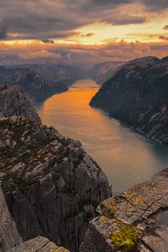 Preikestolen ~ a bronze river below Pulpit Rock, Forsand, Norway by Florencio Barroso