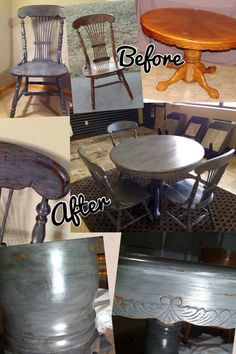 Before and after chalk paint and glazed and distressed pedestal table and chairs. Gray chalk paint and black glaze.