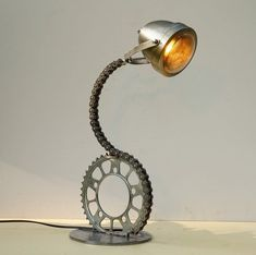 Chain-E Steel Foot: Industrial Table Lamp Upcycled Desk Lamp Motorcycle Lamp Cha. - Chain-E Steel Foot: Industrial Table Lamp Upcycled Desk Lamp Motorcycle Lamp Chain Lamp Recycled St - Room Lamp, Desk Lamp, Table Desk, Lamp Table, Bed Room, Dorm Room, Metal Art Projects, Outdoor Projects, Scrap Metal Art
