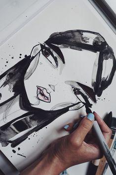 Face Illustration, Fashion Illustration Sketches, Art Sketches, Art Drawings, Illustrations, Sketch Inspiration, Art Journal Inspiration, Art Inspo, Arte Grunge
