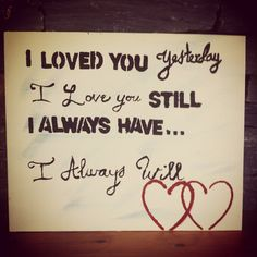 Canvas with love quote for Valentines day