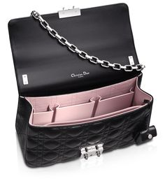 MISS DIOR - Black leather 'Miss Dior' bag ..... I love a bag that has many compartments!