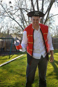No Sew Captain Hook Halloween Costume DIY Instructions at: http://mommytradetricks.blogspot.com/2013/12/captain-hook-no-sew-vest.html