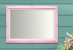 """ANY COLOR- Baby Nursery Mirror Nursery Decor Girl Boy Baroque Vanity Mirror Wall Mirror 37""""x27"""" White Pink Yellow Baroque Mirror Rectangle by RevivedVintage on Etsy"""
