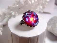 Round Dragon's Breath Opal Ring With Adjustable Band