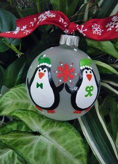 2013 Christmas penguin craft idea, cute Christmas tree penguin ball crafts, Christmas home decor diy