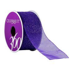 "Celebrate It 360° Sheer Glitter Ribbon, 1 1/2"""