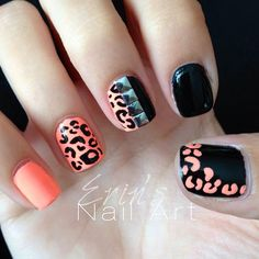 Coral and black nail design, animal print manicure!