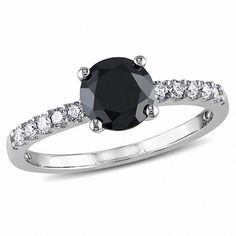 #Zales - #Delmar 1-1/4 CT. T.w. Enhanced Black and White Diamond Engagement Ring in 14K White Gold - AdoreWe.com